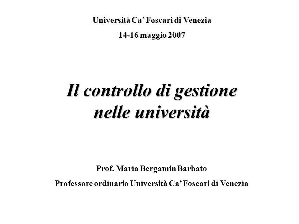 Il controllo di gestione nelle università