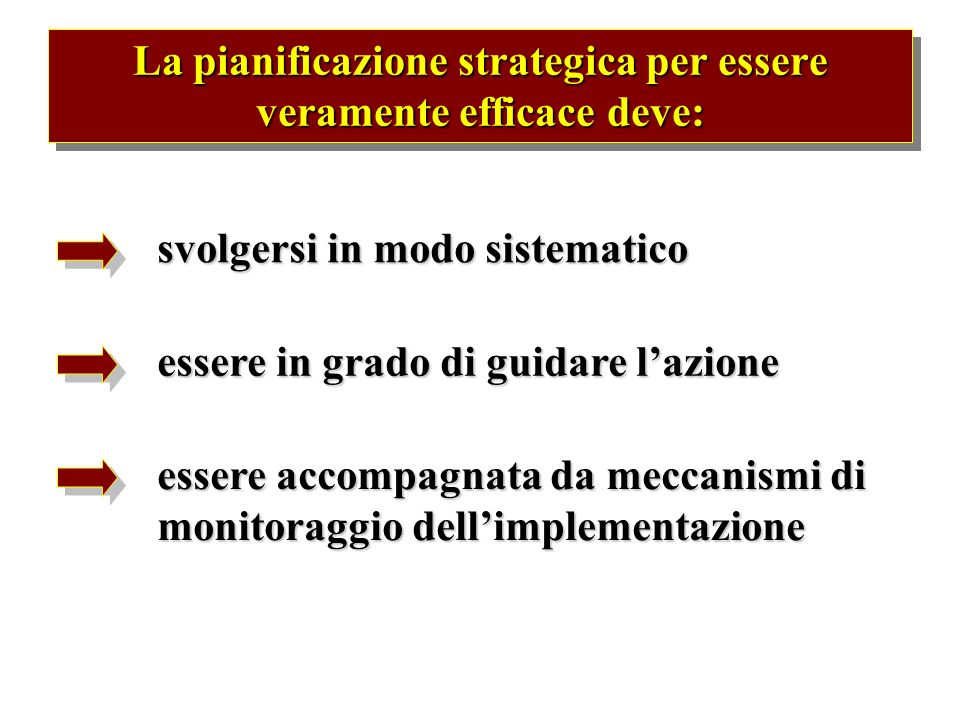 La pianificazione strategica per essere veramente efficace deve:
