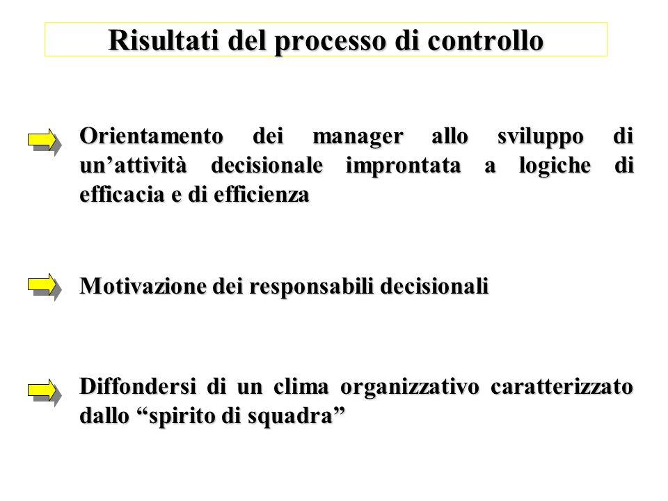 Risultati del processo di controllo