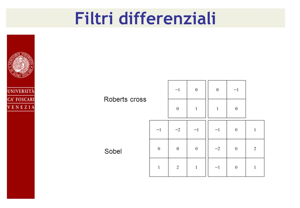 Filtri differenziali Roberts cross Sobel