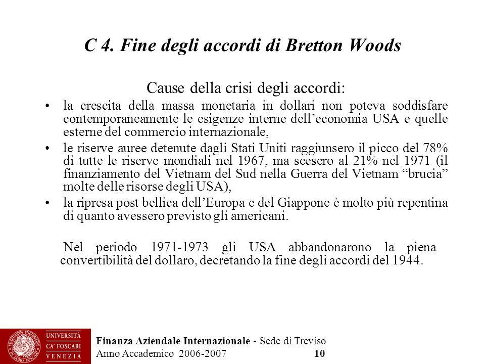 C 4. Fine degli accordi di Bretton Woods