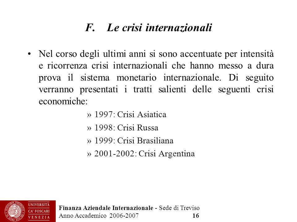 F. Le crisi internazionali
