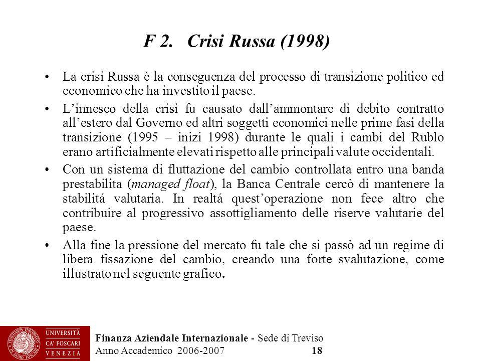 F 2. Crisi Russa (1998) La crisi Russa è la conseguenza del processo di transizione politico ed economico che ha investito il paese.