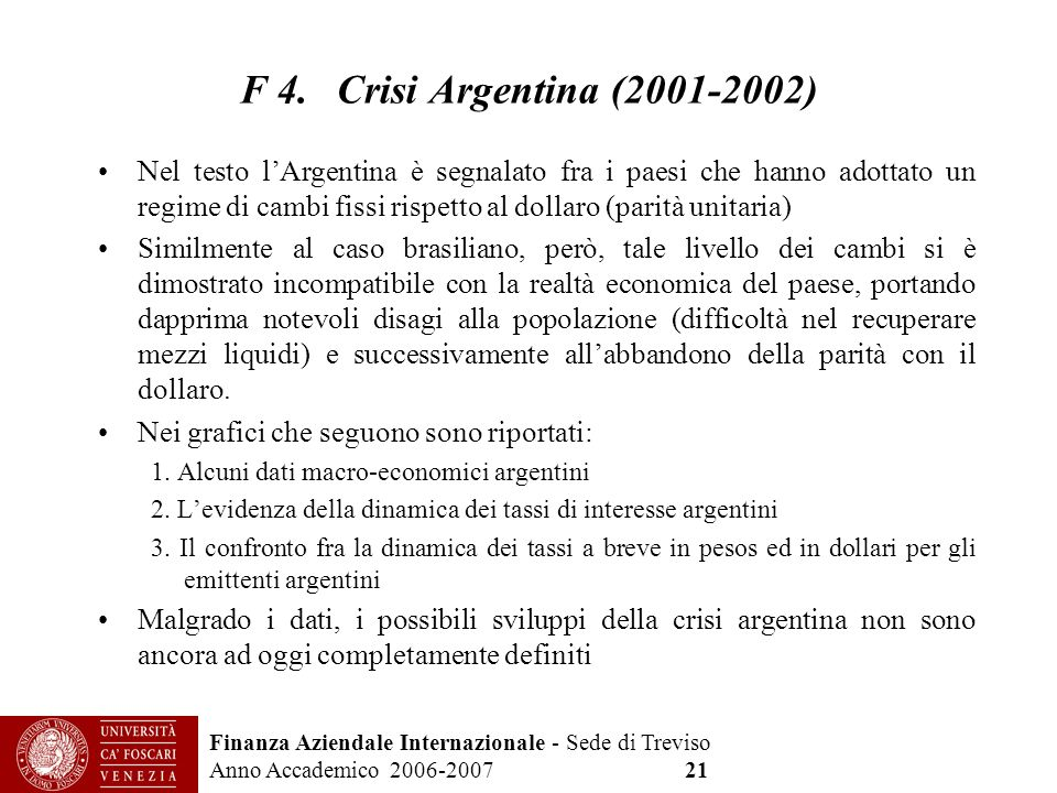 F 4. Crisi Argentina (2001-2002)