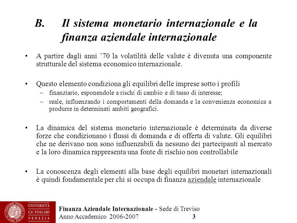 Il sistema monetario internazionale e la finanza aziendale internazionale