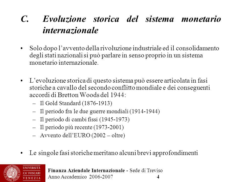Evoluzione storica del sistema monetario internazionale