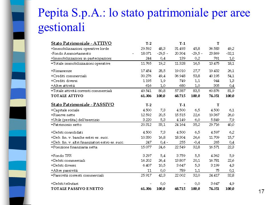 Pepita S.p.A.: lo stato patrimoniale per aree gestionali
