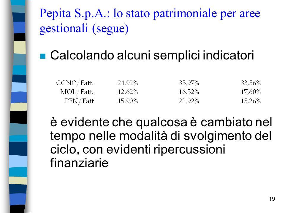 Pepita S.p.A.: lo stato patrimoniale per aree gestionali (segue)