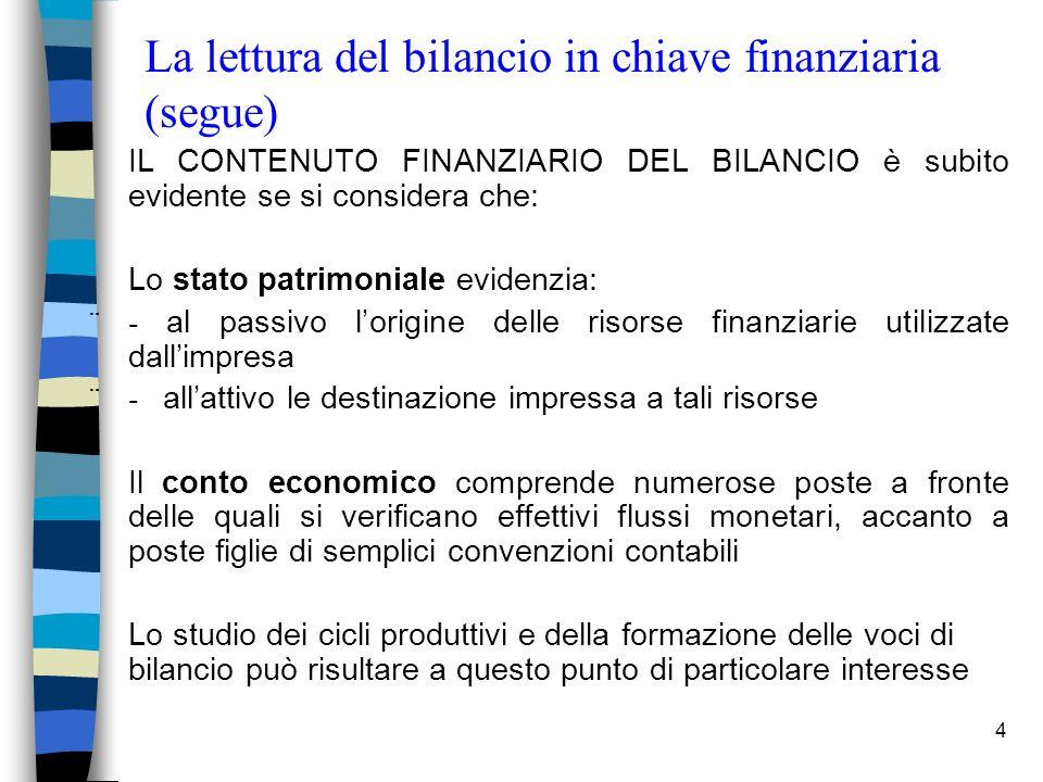 La lettura del bilancio in chiave finanziaria (segue)