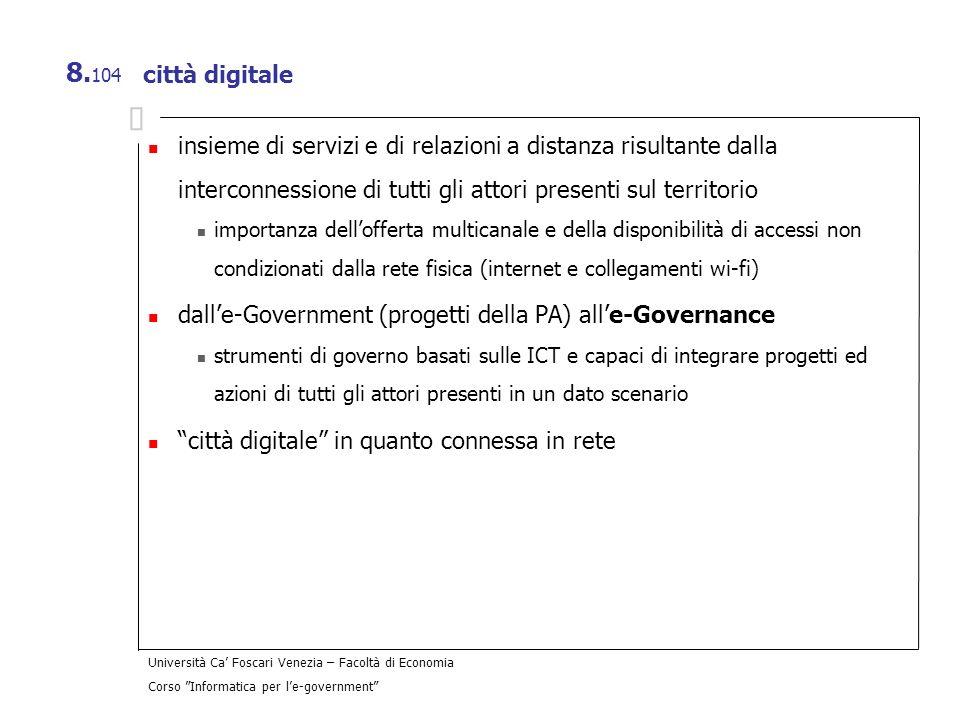 dall'e-Government (progetti della PA) all'e-Governance