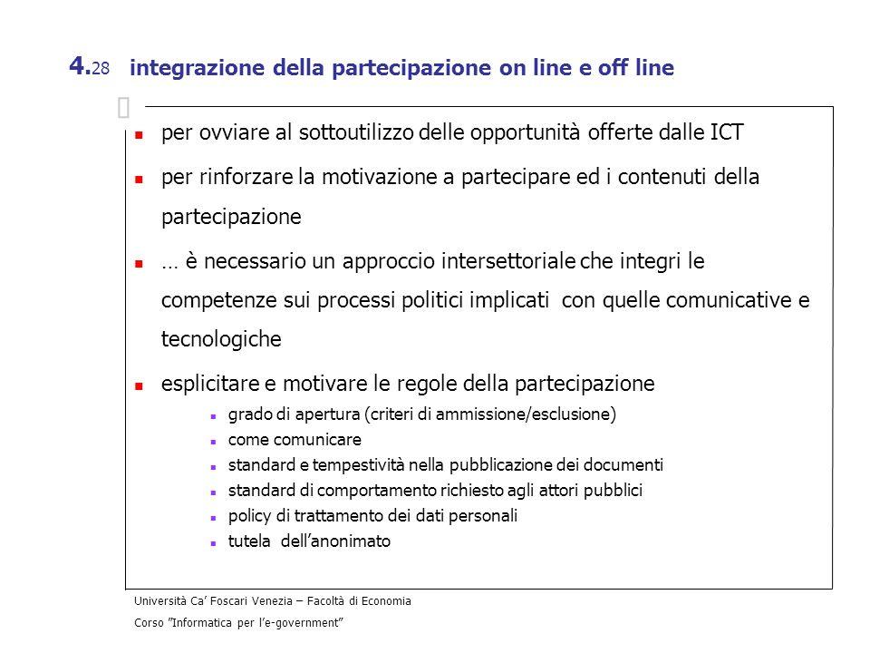 integrazione della partecipazione on line e off line