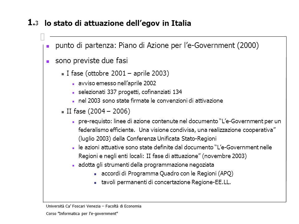 lo stato di attuazione dell'egov in Italia