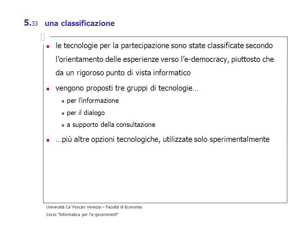 vengono proposti tre gruppi di tecnologie…