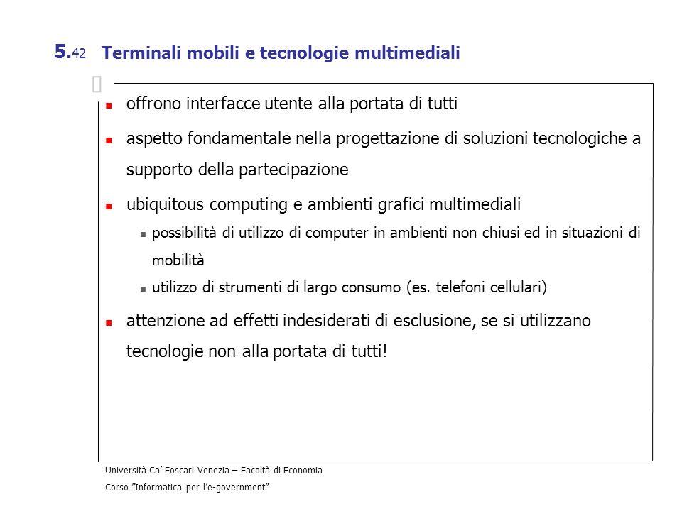Terminali mobili e tecnologie multimediali