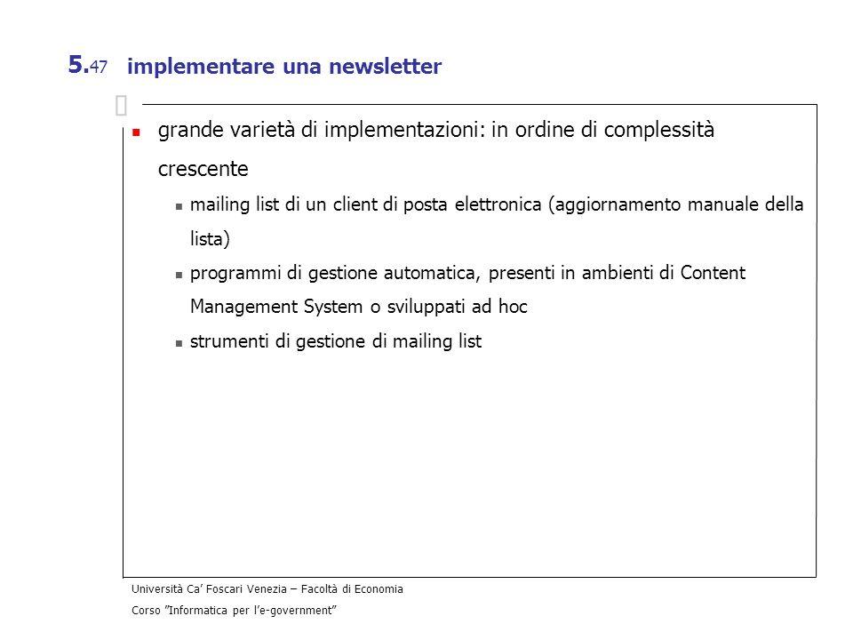 implementare una newsletter