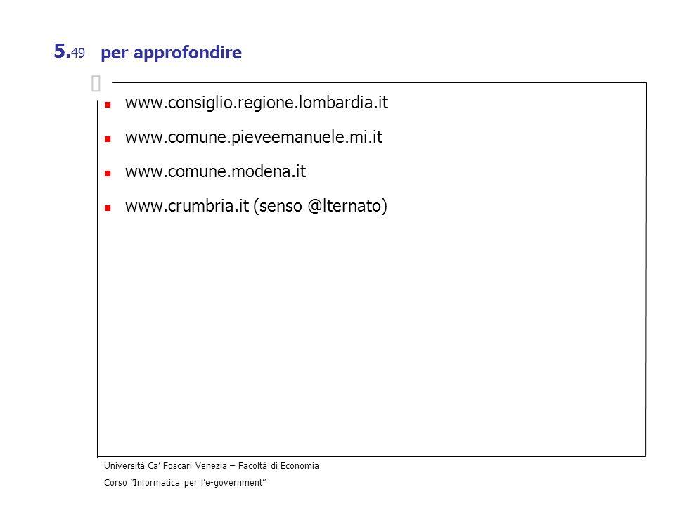 per approfondirewww.consiglio.regione.lombardia.it. www.comune.pieveemanuele.mi.it. www.comune.modena.it.
