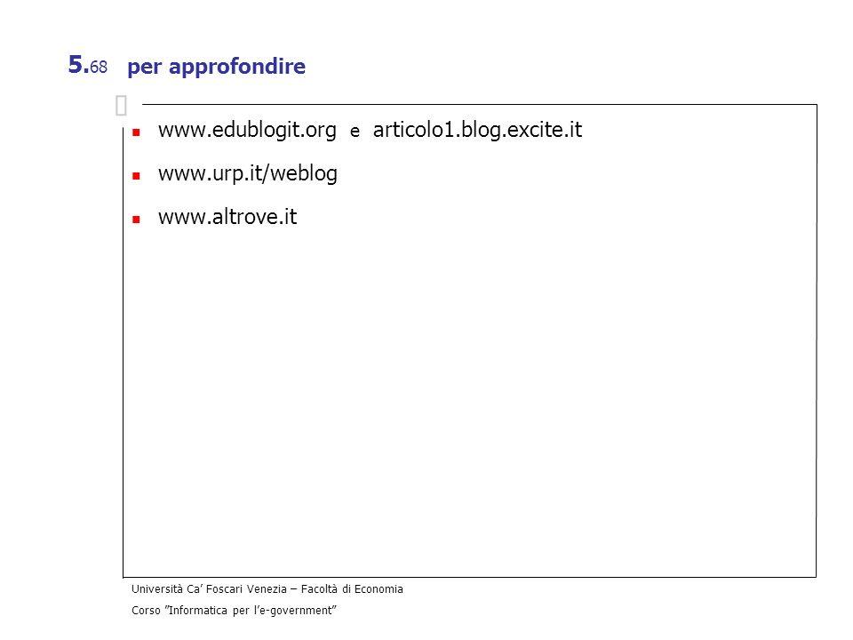 per approfondire www.edublogit.org e articolo1.blog.excite.it www.urp.it/weblog www.altrove.it