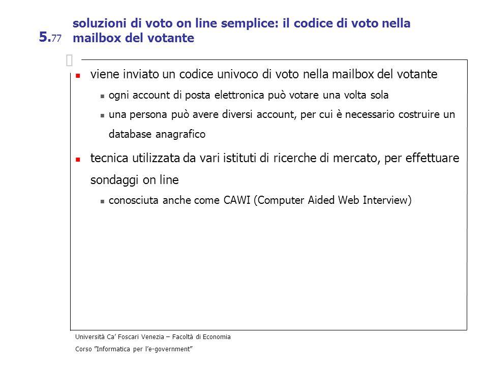 viene inviato un codice univoco di voto nella mailbox del votante