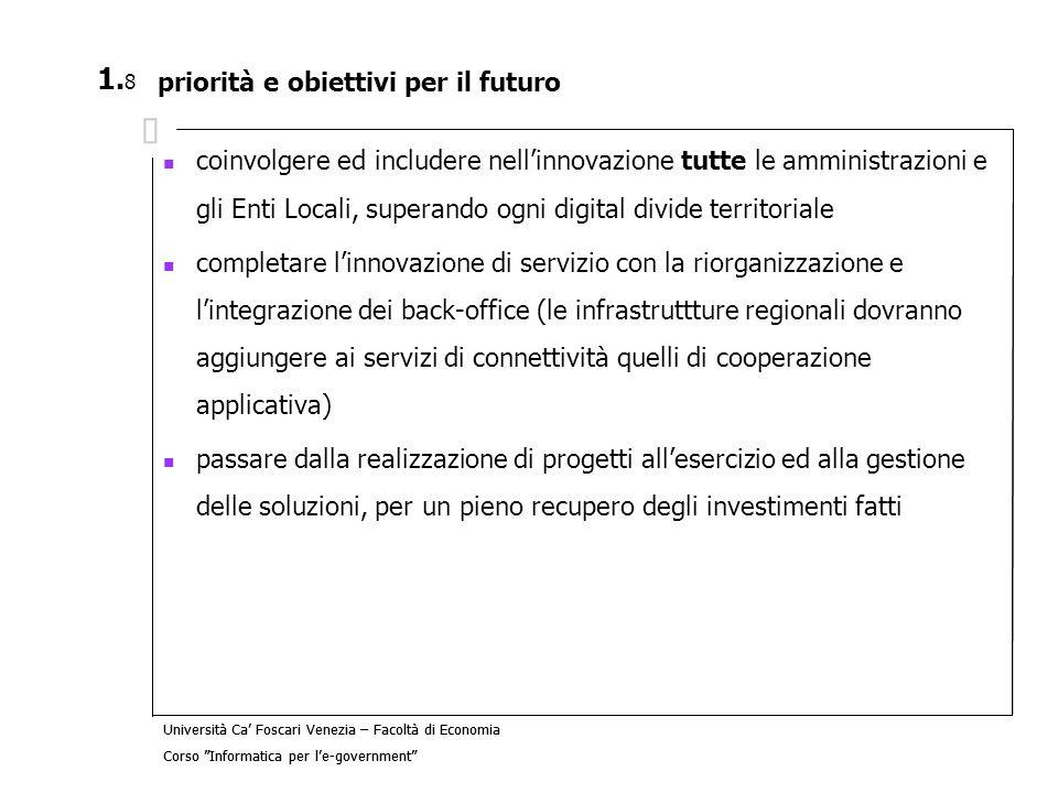 priorità e obiettivi per il futuro
