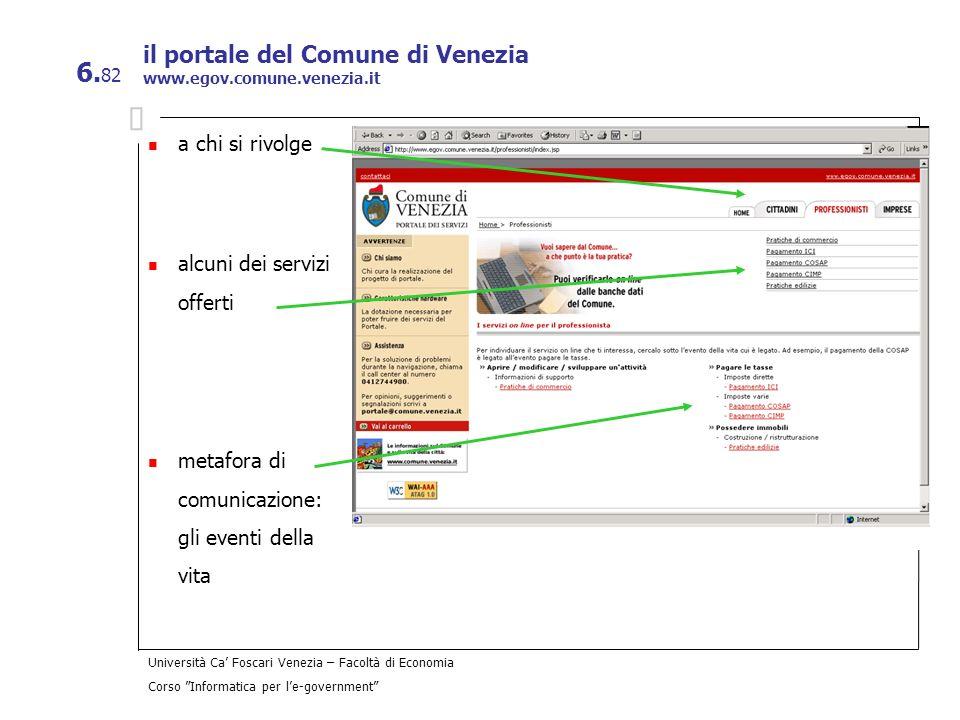 il portale del Comune di Venezia www.egov.comune.venezia.it