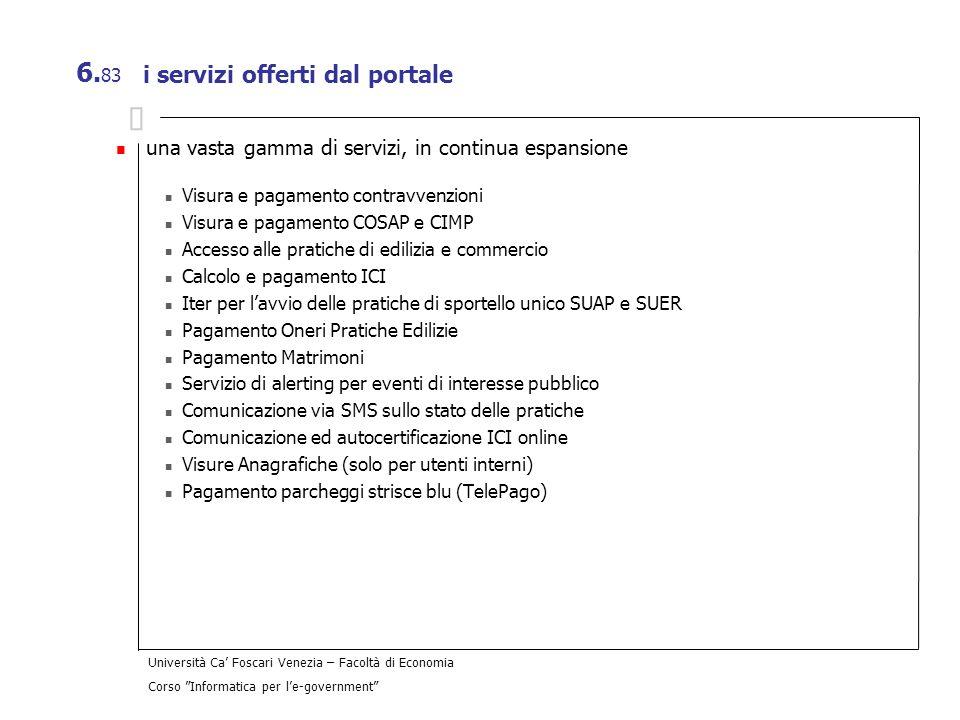 i servizi offerti dal portale
