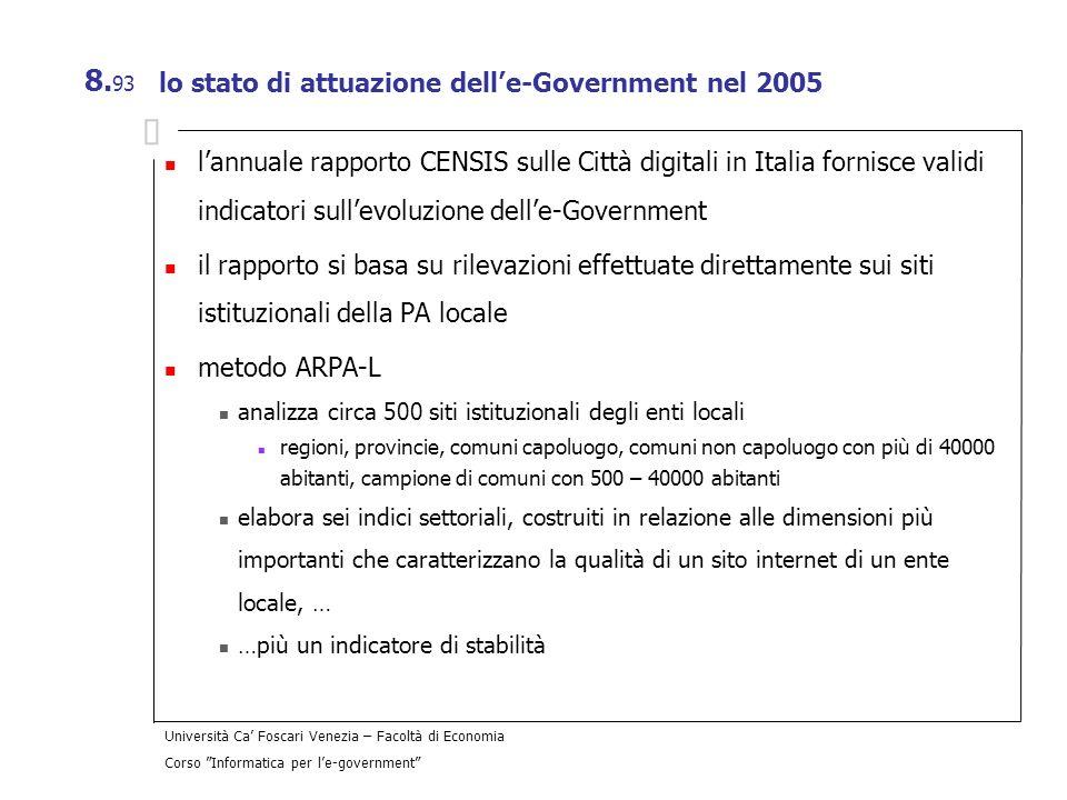 lo stato di attuazione dell'e-Government nel 2005