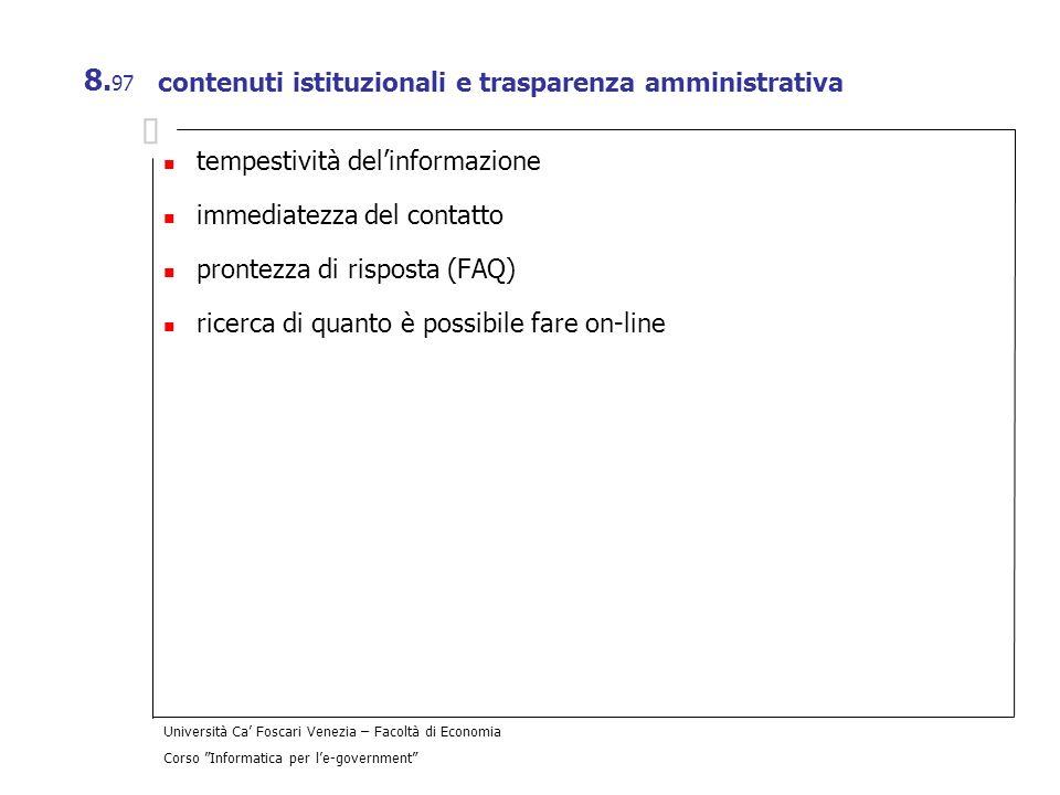 contenuti istituzionali e trasparenza amministrativa