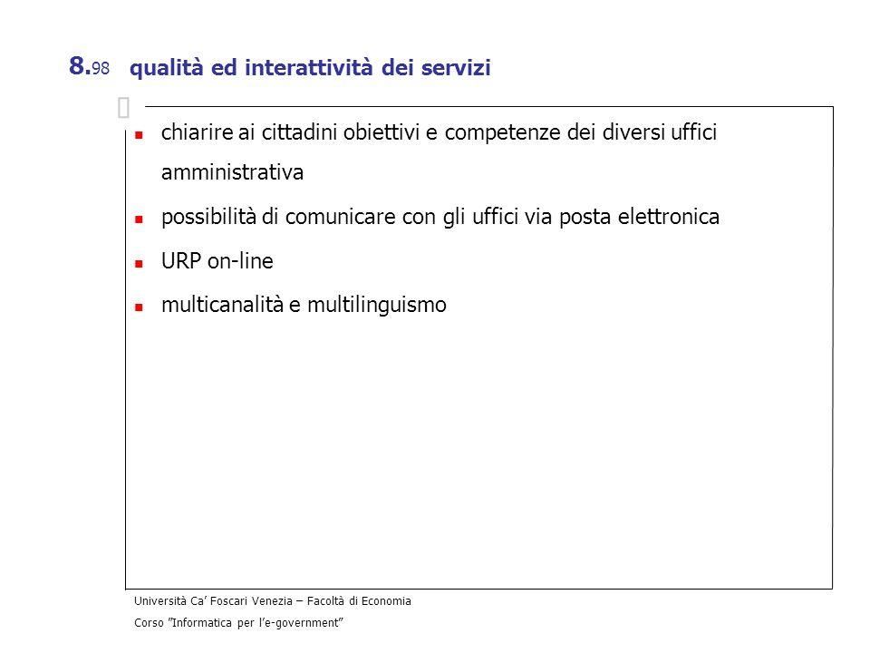 qualità ed interattività dei servizi