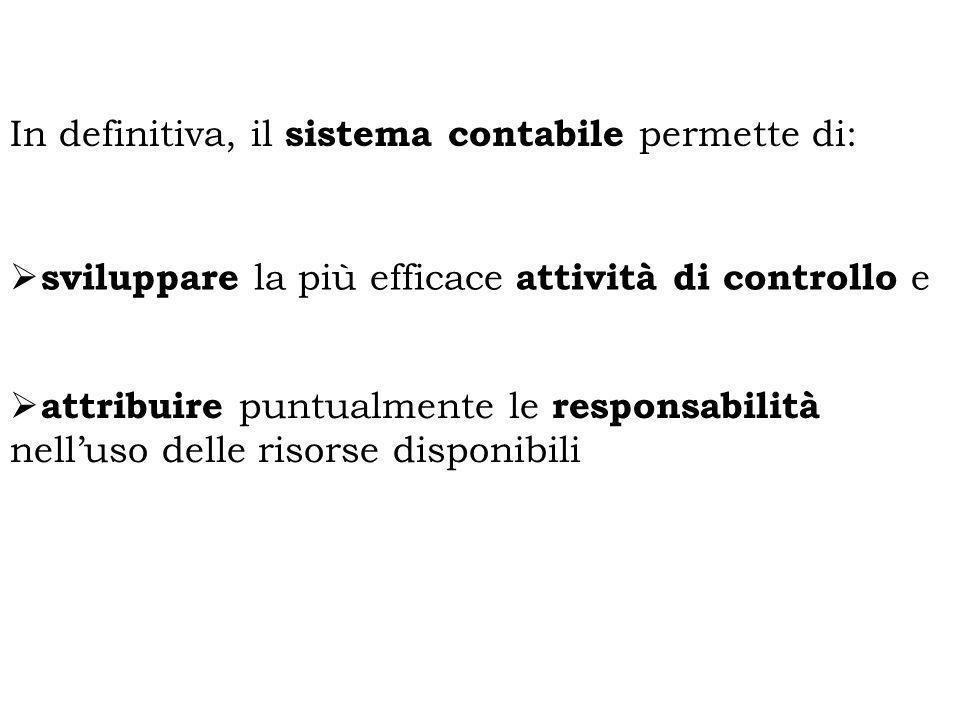 In definitiva, il sistema contabile permette di: