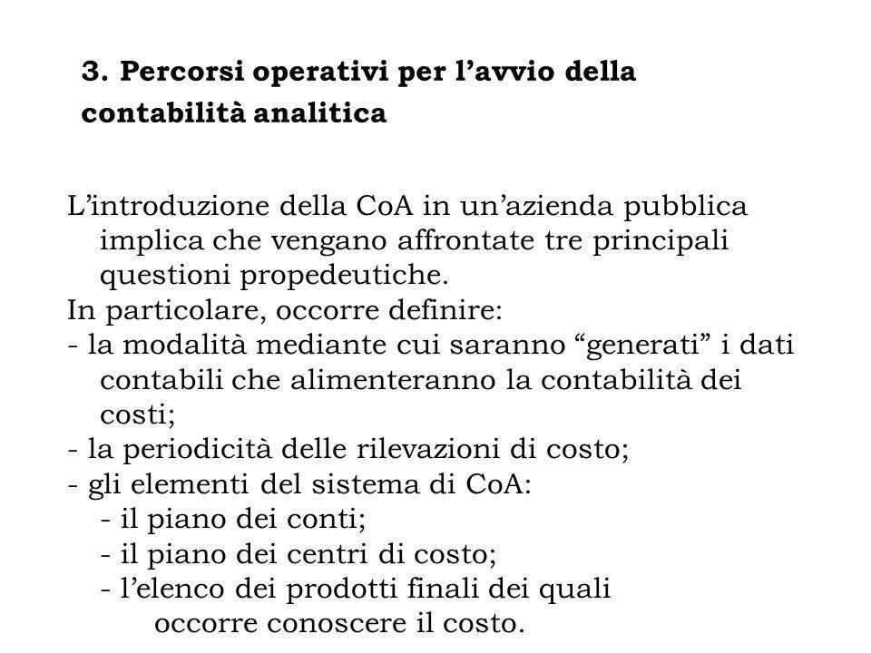 3. Percorsi operativi per l'avvio della contabilità analitica