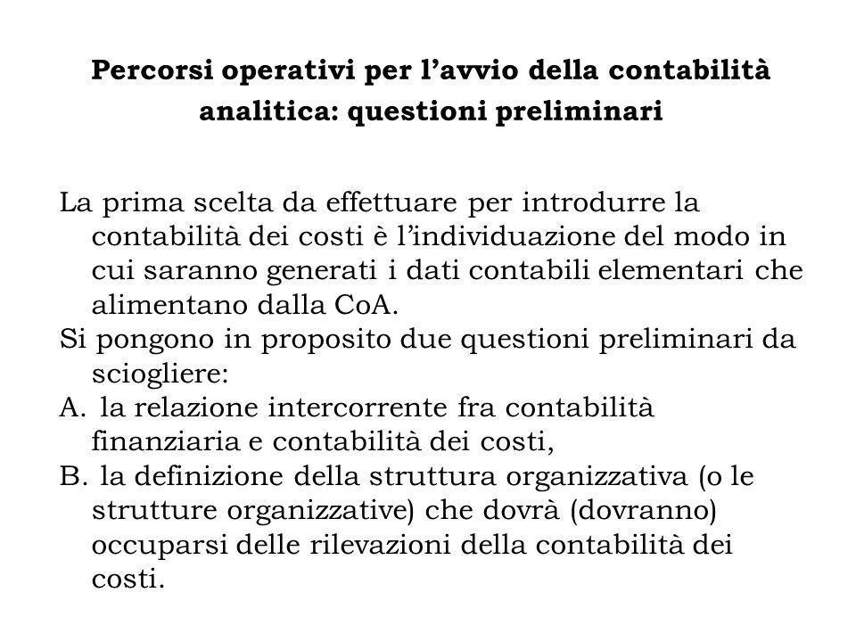 Percorsi operativi per l'avvio della contabilità analitica: questioni preliminari