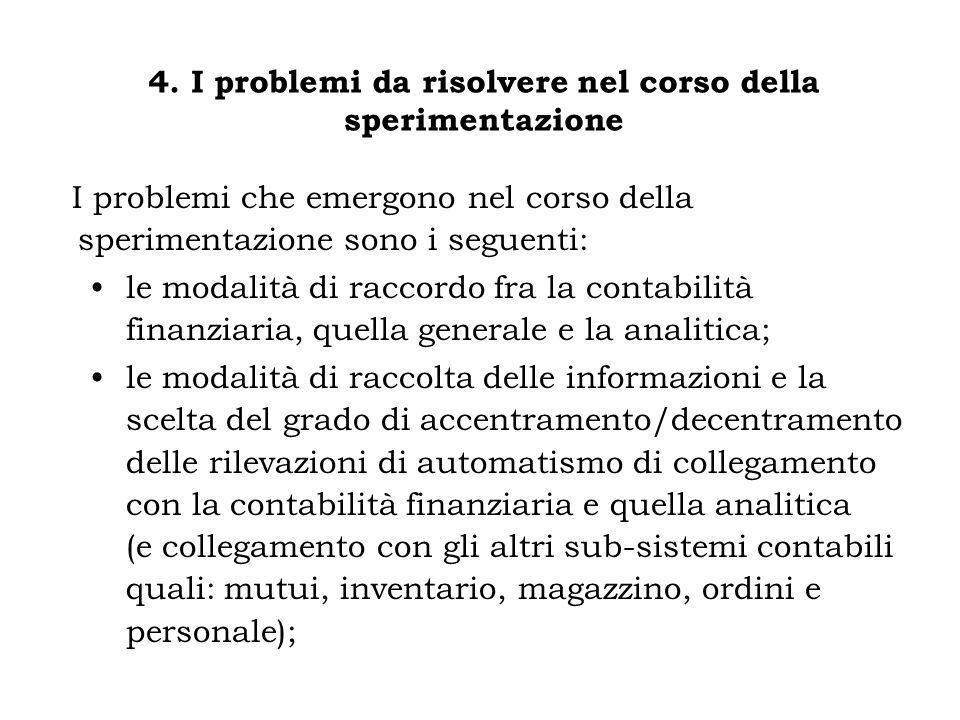 4. I problemi da risolvere nel corso della sperimentazione