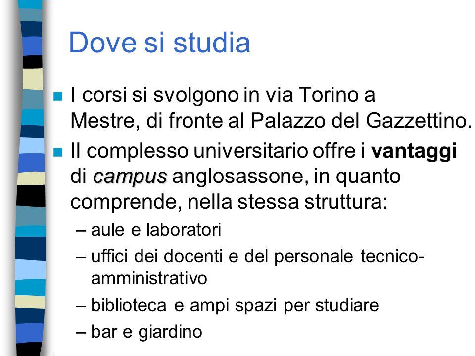 Dove si studia I corsi si svolgono in via Torino a Mestre, di fronte al Palazzo del Gazzettino.