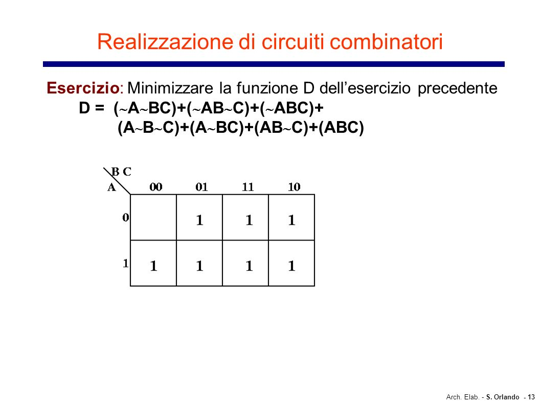 Realizzazione di circuiti combinatori