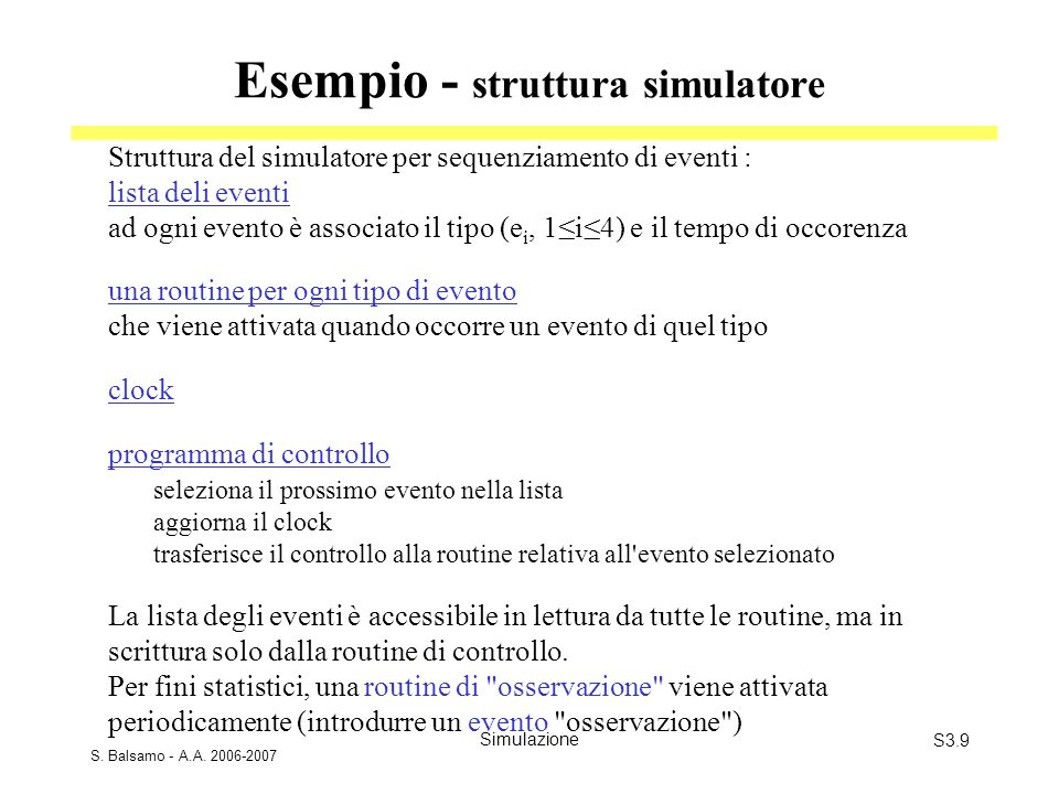 Esempio - struttura simulatore