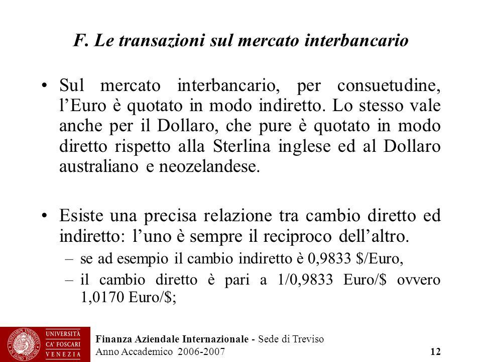 F. Le transazioni sul mercato interbancario
