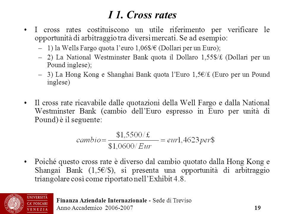 I 1. Cross rates I cross rates costituiscono un utile riferimento per verificare le opportunità di arbitraggio tra diversi mercati. Se ad esempio:
