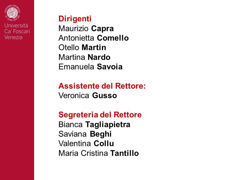 Dirigenti Maurizio Capra. Antonietta Comello. Otello Martin. Martina Nardo. Emanuela Savoia. Assistente del Rettore: