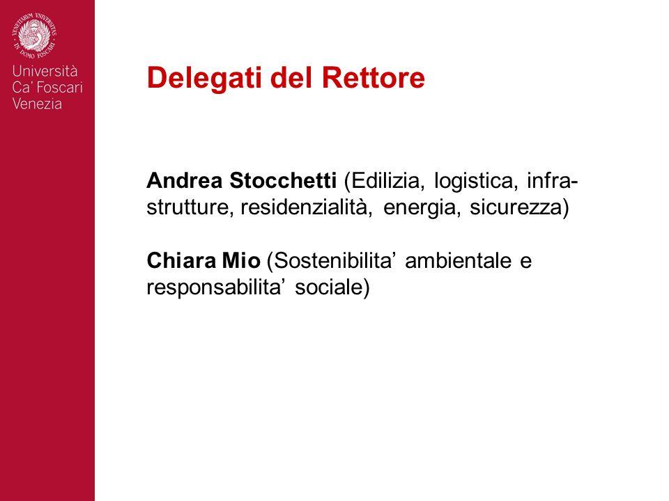 Delegati del Rettore Andrea Stocchetti (Edilizia, logistica, infra-strutture, residenzialità, energia, sicurezza)
