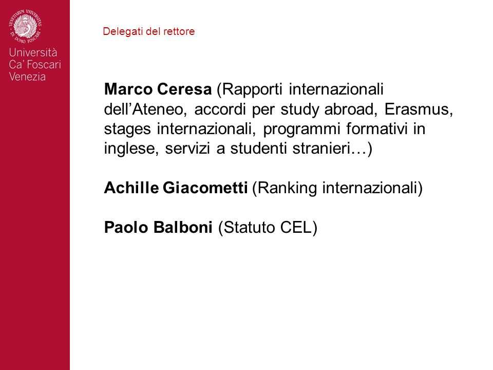 Achille Giacometti (Ranking internazionali)