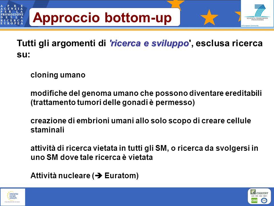 Approccio bottom-up Tutti gli argomenti di ricerca e sviluppo , esclusa ricerca su: cloning umano.