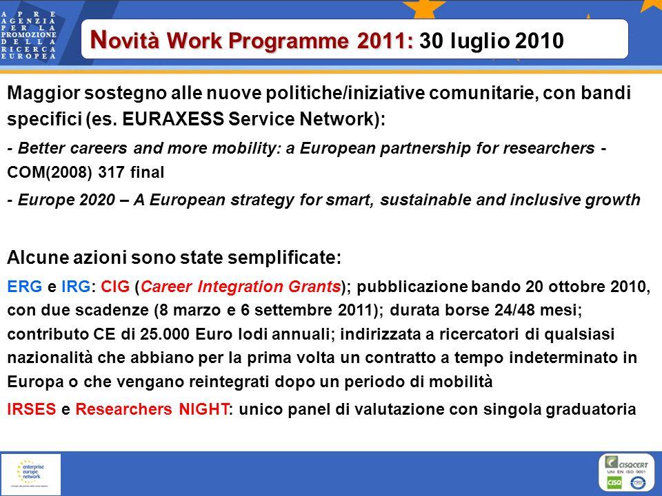 Novità Work Programme 2011: 30 luglio 2010