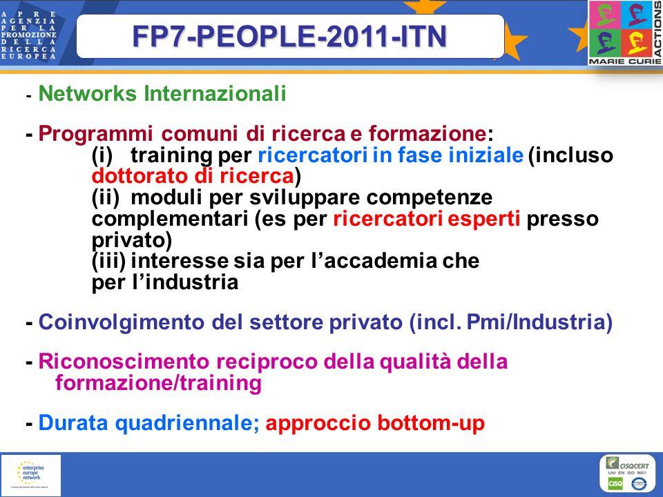 FP7-PEOPLE-2011-ITN- Networks Internazionali.