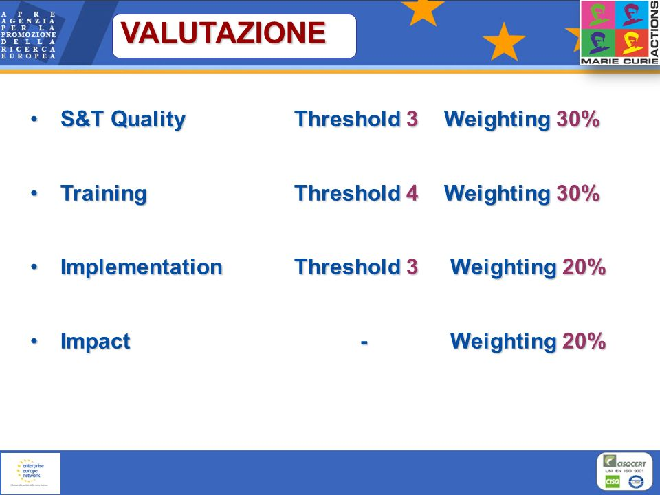 VALUTAZIONE S&T Quality Threshold 3 Weighting 30%
