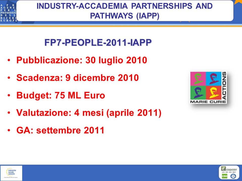 INDUSTRY-ACCADEMIA PARTNERSHIPS AND PATHWAYS (IAPP)