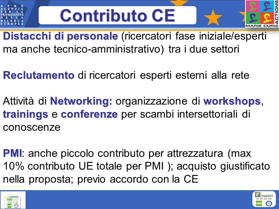 Contributo CE Distacchi di personale (ricercatori fase iniziale/esperti ma anche tecnico-amministrativo) tra i due settori.