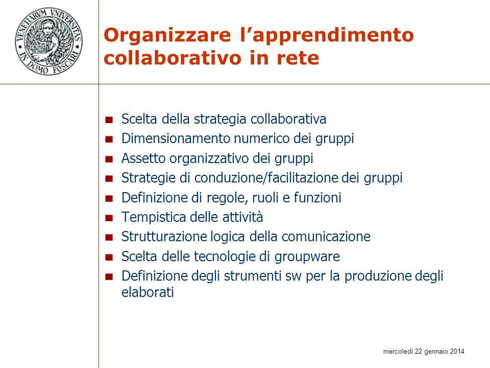 Organizzare l'apprendimento collaborativo in rete