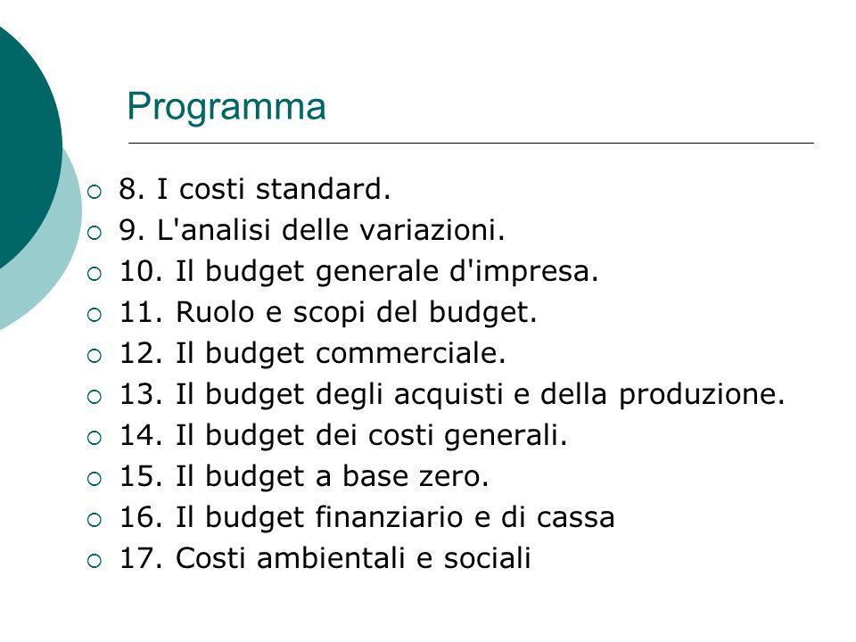 Programma 8. I costi standard. 9. L analisi delle variazioni.