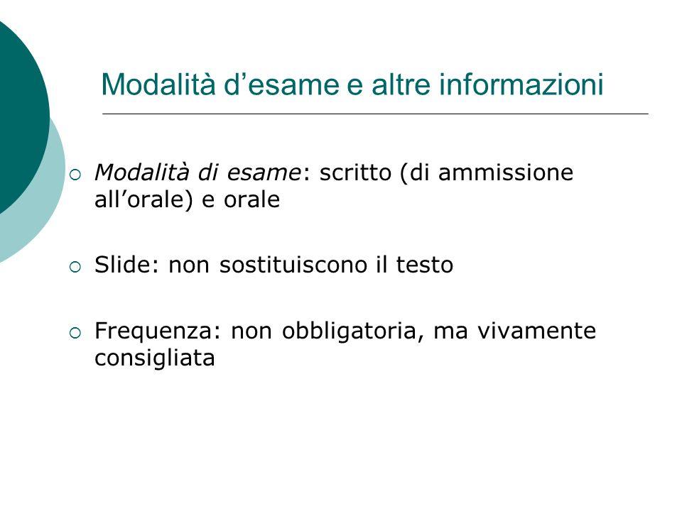 Modalità d'esame e altre informazioni