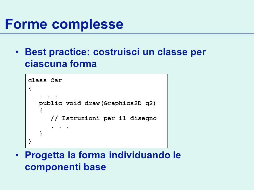 Forme complesse Best practice: costruisci un classe per ciascuna forma